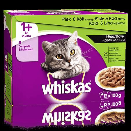 Whiskas® 1+ Fisk- & Kødmenu i Sovs