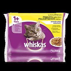 Whiskas 1+ kiisueine 4-pakk Linnulihavalik