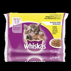 Whiskas Junior kiisueine 4-pakk Linnulihavalik