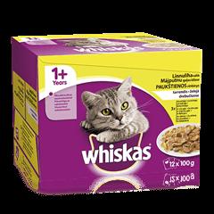 Whiskas 1+ kiisueine 12-pakk Linnulihavalik