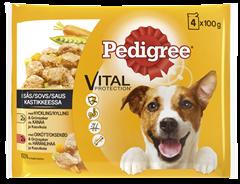 PEDIGREE® Adult 4x100g sis. Kanaa ja Kasviksia | Härkää ja Kasviksia kastikkeessa