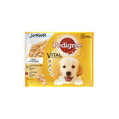 PEDIGREE® Junior 4x100g sis. Kanaa ja Härkää
