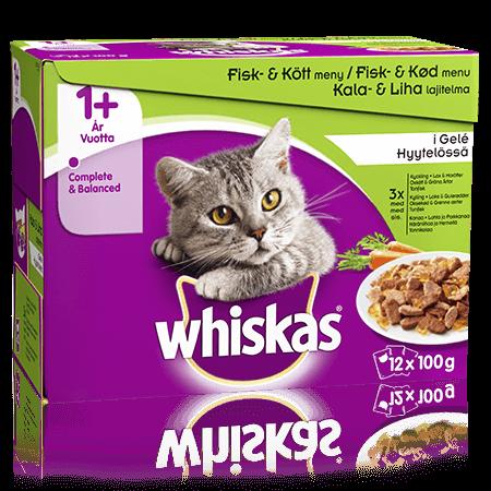 Whiskas® 1+ Kala&Lihalajitelma Kasvis Hyytelössä 12x100g