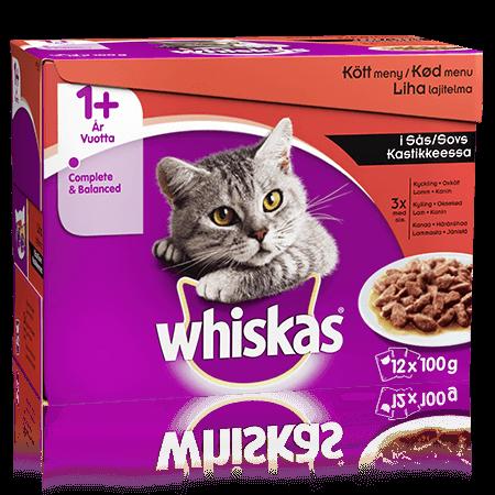 Whiskas® 1+ Lihalajitelma Kastikkeessa 12x100g