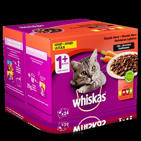 Whiskas® 1+ Perinteinen lajitelma & kasviksia kastikkeessa