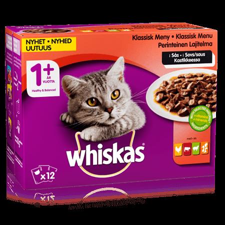 Whiskas® 1+ Perinteinen lajitelma Kastikkeessa