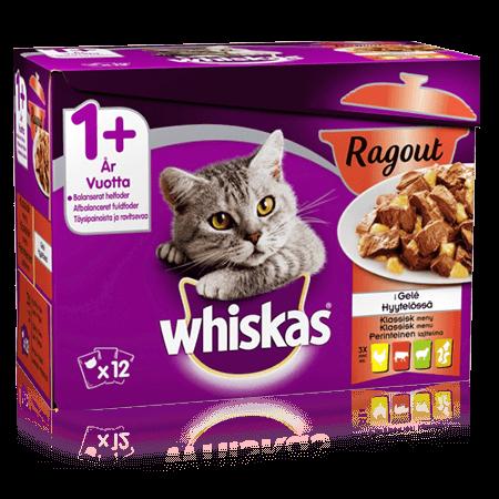 Whiskas® 1+ Ragout Perinteinen lajitelma hyytelössä