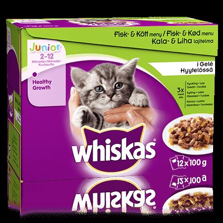Whiskas® Junior Kala&Lihalajitelma Hyytelössä 12x100g