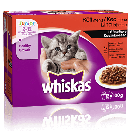 Whiskas® Junior Lihalajitelma Kastikkeessa 12x100g