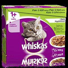 Whiskas® 1+ Kala&Lihalajitelma Hyytelössä 12x100g
