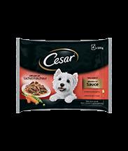 CESAR® Délices en sachets fraîcheur en sauce 2 variétés 4x100g