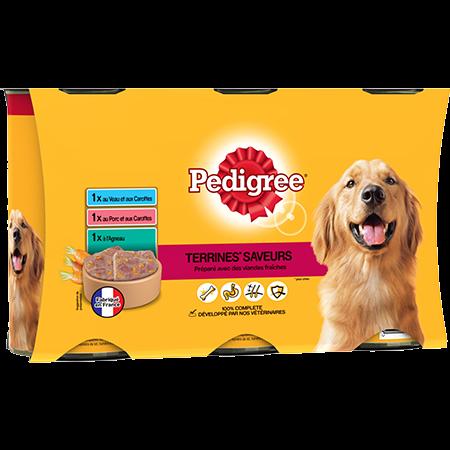 Boîtes Terrines™ saveurs 3x1,25kg pour chien adulte