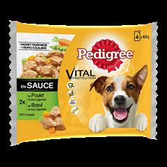 Sachet fraîcheur en sauce 4x100g pour chien adulte