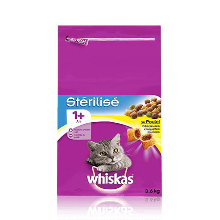 WHISKAS Chat Stérilisé 1 an+ Poulet 3,6KG