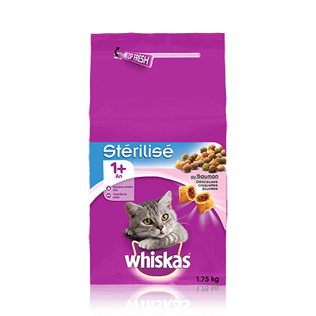 WHISKAS Chat Stérilisé 1 an+ Saumon 1,75KG