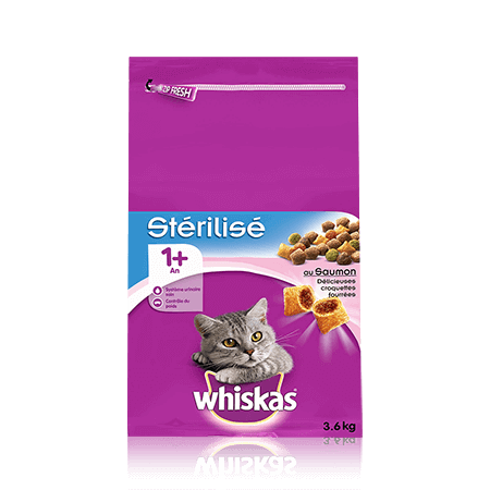 WHISKAS Chat Stérilisé 1 an+ Saumon 3,6KG