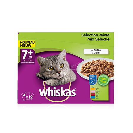 WHISKAS Chat Senior Sélection Mixte x12 en Gelée