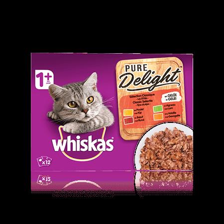 WHISKAS Pure Delight Sélection Classique x12 en Gelée pour chat adulte
