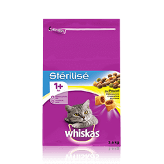 WHISKAS<sup>®</sup> Chat Stérilisé 1 an+ Poulet 3,6KG
