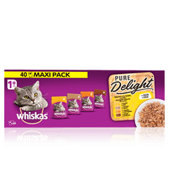 WHISKAS® 1+ Pure Delight Sélection à la Volaille x40