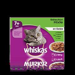 WHISKAS® Chat Senior Sélection Mixte x12 en Gelée