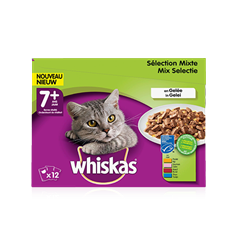 WHISKAS<sup>®</sup> Chat Senior Sélection Mixte x12 en Gelée