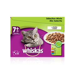 WHISKAS® Chat Senior Sélection Mixte x12 en Gelée