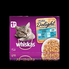 WHISKAS® Pure Delight Sélection aux Poissons x12 en Gelée pour chat adulte