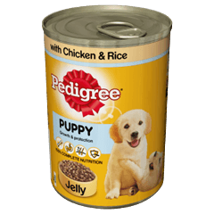 Pedigree Puppy Tin With Chicken and Rice in Jelly