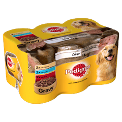 Pedigree Tins Mixed Selection With Meat and Liver in Gravy