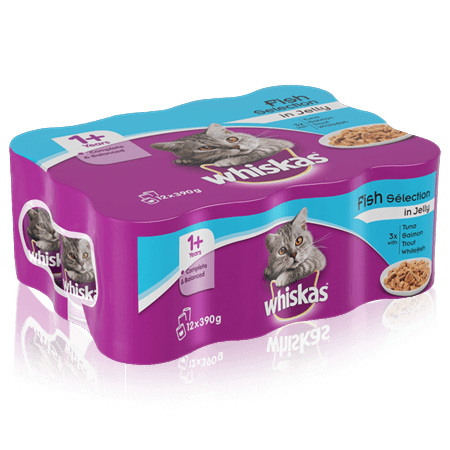 WHISKAS 1+ Can Fish Selection in Jelly 12 x 390g