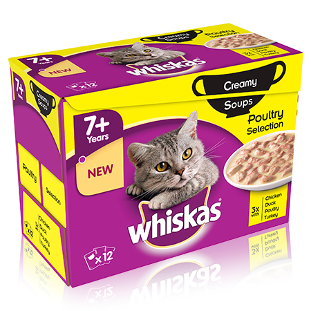 WHISKAS 7+ Creamy Soups Poultry Selection 12 x 85g