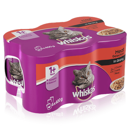 WHISKAS 1+ Can Meaty Selection in Gravy 6 x 400g (2400g)