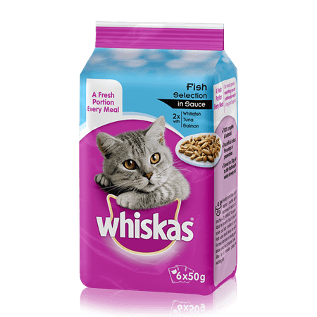 WHISKAS Pouch Fish Selection in Gravy 6 x 50g