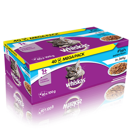 WHISKAS 1+  Fish Selection in Jelly 40 x 100g (4kg)