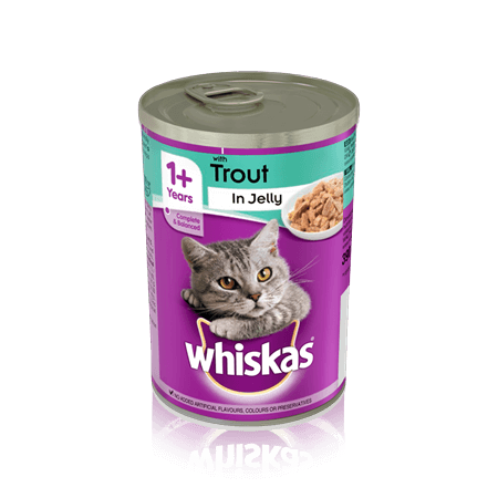 WHISKAS 1+  Can with Trout in Jelly 390g