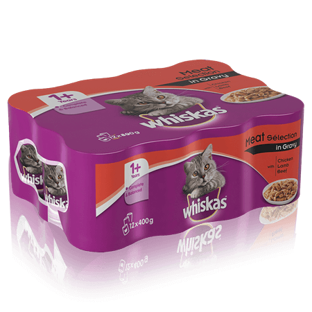 WHISKAS 1+ Can Meaty Selection in Gravy 12 x 400g (4800g)
