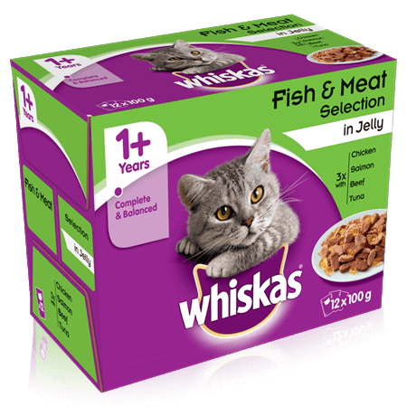 WHISKAS 1+ Fish & Meaty Selection in Jelly 12 x 100g (1.2kg)