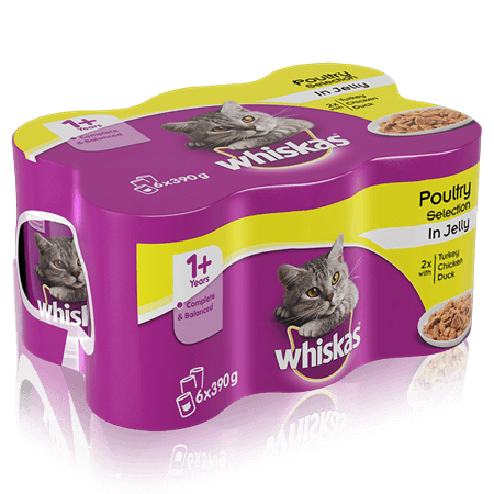 WHISKAS 1+ Can Poultry Selection in Jelly 6 x 390g (2340g)