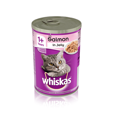 WHISKAS 1+  Can with Salmon in Jelly 390g