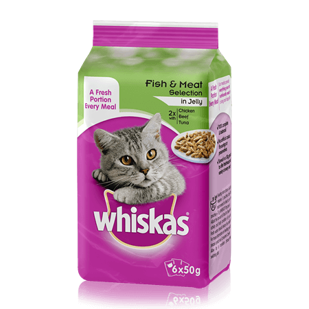 WHISKAS Pouch Fish & Meaty Selection in Jelly 6 x 50g