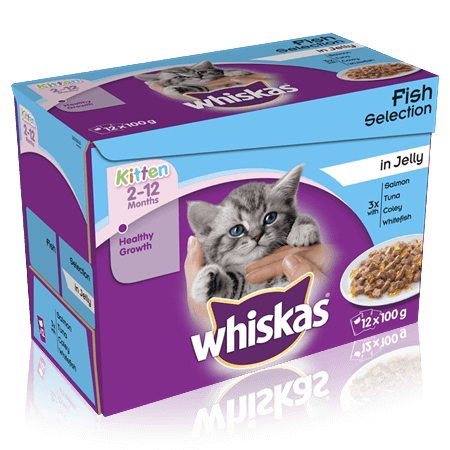 WHISKAS 2-12 Months Kitten  Fish Selection in Jelly 12 x 100g (1.2kg)