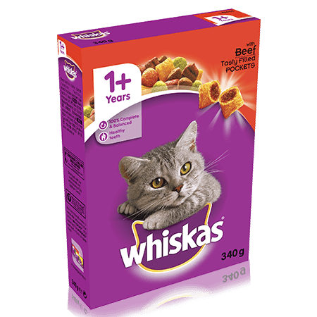 WHISKAS 1+ Cat Complete Dry with Beef 340g