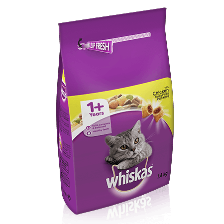 WHISKAS 1+ Cat Complete Dry with Chicken 1.4kg