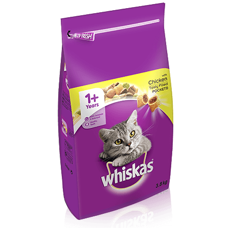 WHISKAS 1+ Cat Complete Dry with Chicken 3.8kg