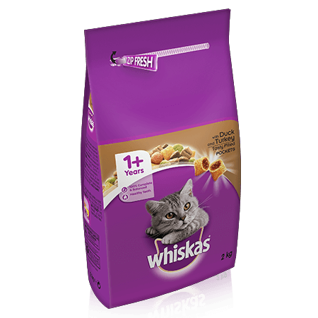 WHISKAS 1+ Cat Complete Dry with Duck & Turkey 2kg