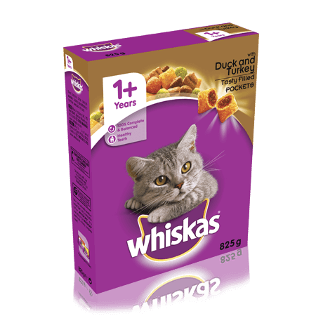 WHISKAS 1+ Cat Complete Dry with Duck & Turkey 825g