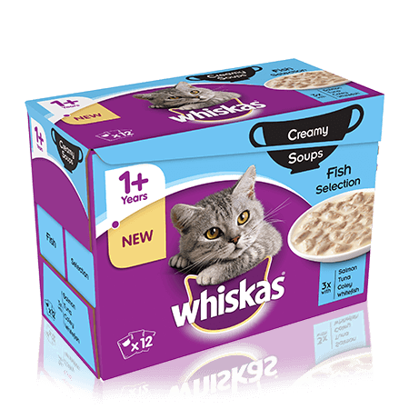 WHISKAS 1+Years Creamy Soups Fish Selection 12 x 85g