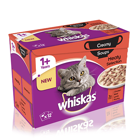WHISKAS 1+Years Creamy Soups Meaty Selection 12 x 85g
