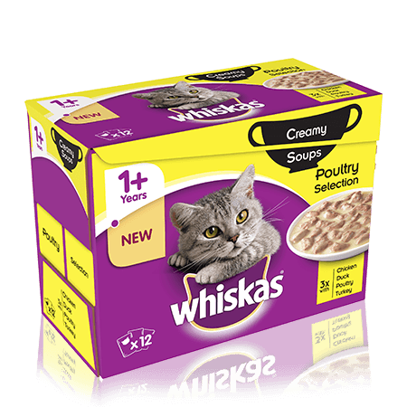 WHISKAS 1+Years Creamy Soups Poultry Selection 12 x 85g